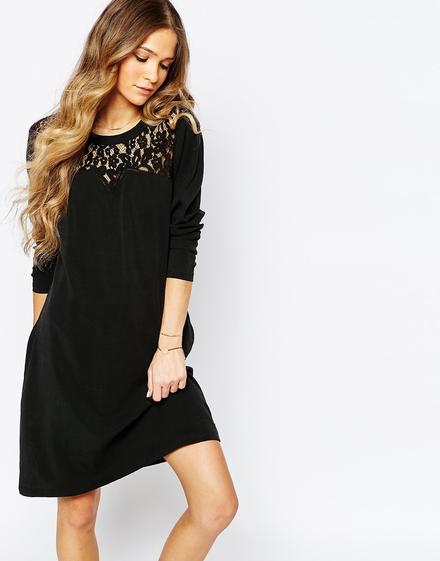 Cupro Dress With Lace Details In Black Black - style: shift; length: mid thigh; neckline: round neck; predominant colour: black; occasions: casual, creative work; fit: body skimming; fibres: polyester/polyamide - 100%; sleeve length: long sleeve; sleeve style: standard; texture group: lace; pattern type: fabric; pattern: patterned/print; embellishment: lace; season: a/w 2015; wardrobe: highlight