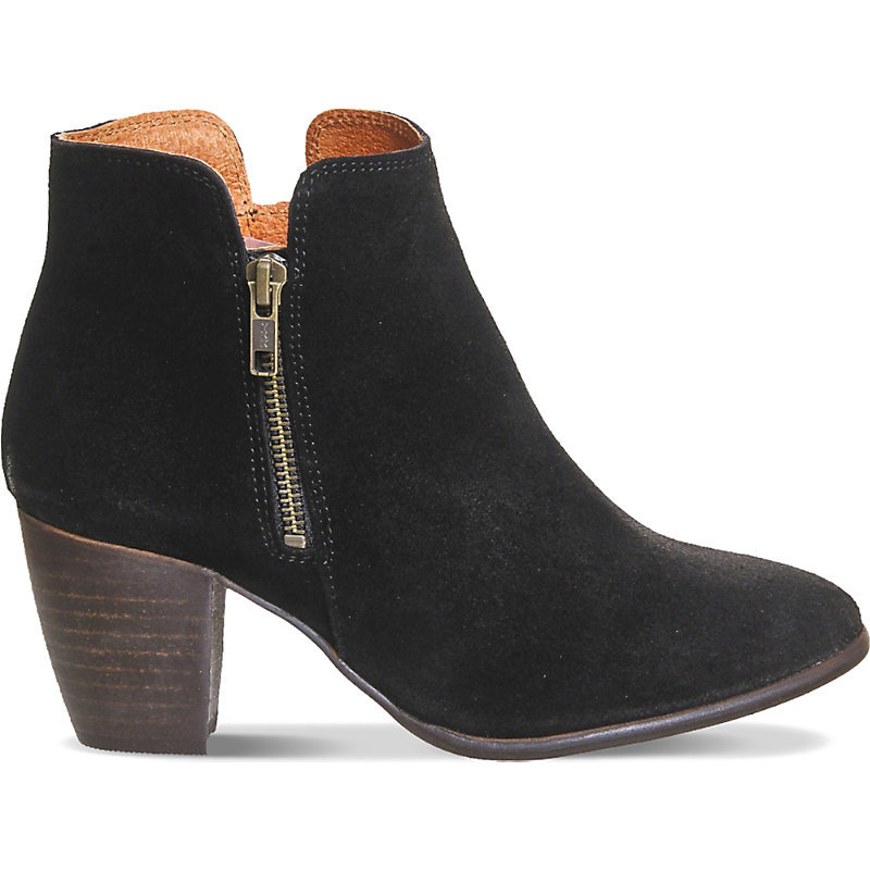 Justine Suede Ankle Boots, Women's, Black Suede - predominant colour: black; occasions: casual, creative work; material: leather; heel height: mid; heel: block; toe: round toe; boot length: ankle boot; style: standard; finish: plain; pattern: plain; season: a/w 2015; wardrobe: basic