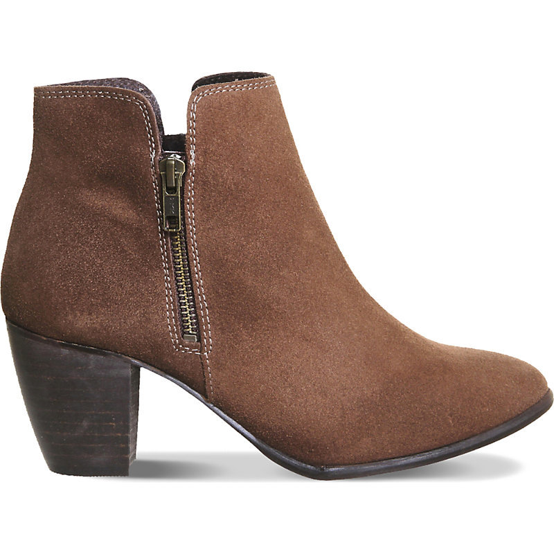 Justine Suede Ankle Boots, Women's, Dark Mink Suede - predominant colour: camel; occasions: casual, creative work; material: suede; heel height: mid; heel: block; toe: round toe; boot length: ankle boot; style: standard; finish: plain; pattern: plain; season: a/w 2015; wardrobe: basic