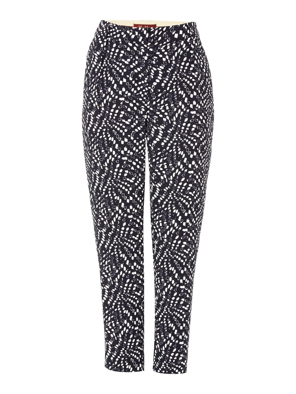 Cinque Printed Tapered Trousers, Blue Multi - style: peg leg; waist: mid/regular rise; secondary colour: white; predominant colour: navy; occasions: casual, creative work; length: ankle length; fibres: polyester/polyamide - 100%; fit: tapered; pattern type: fabric; pattern: patterned/print; texture group: other - light to midweight; pattern size: standard (bottom); season: a/w 2015; wardrobe: highlight