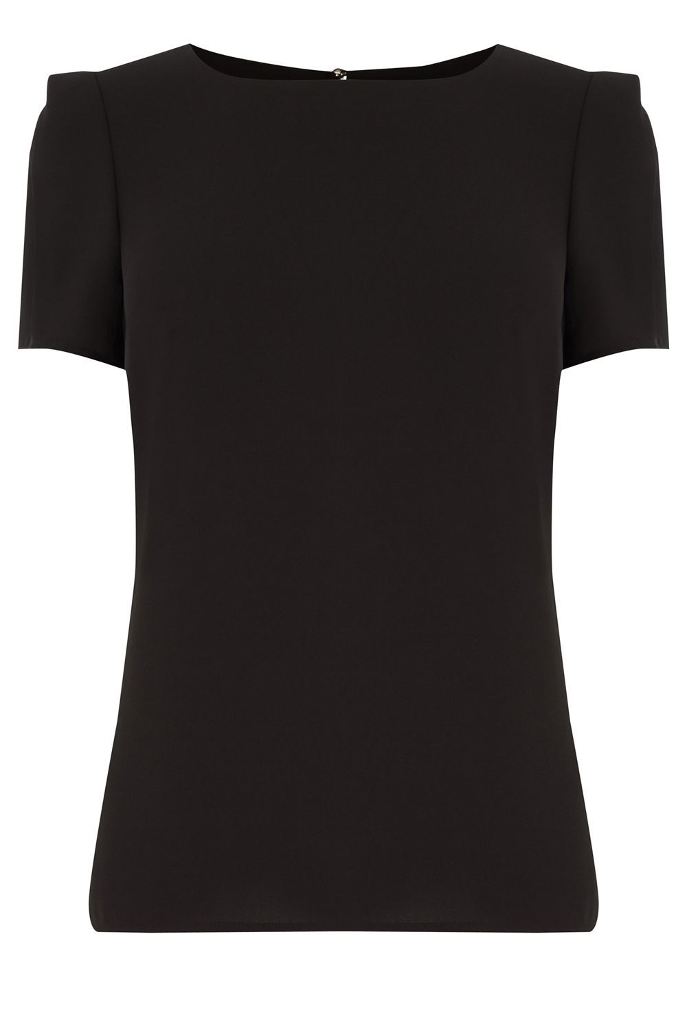 Formal T Shirt, Black - neckline: round neck; pattern: plain; style: t-shirt; predominant colour: black; occasions: casual, work, creative work; length: standard; fibres: polyester/polyamide - 100%; fit: body skimming; sleeve length: short sleeve; sleeve style: standard; pattern type: fabric; texture group: other - light to midweight; season: a/w 2015; wardrobe: basic
