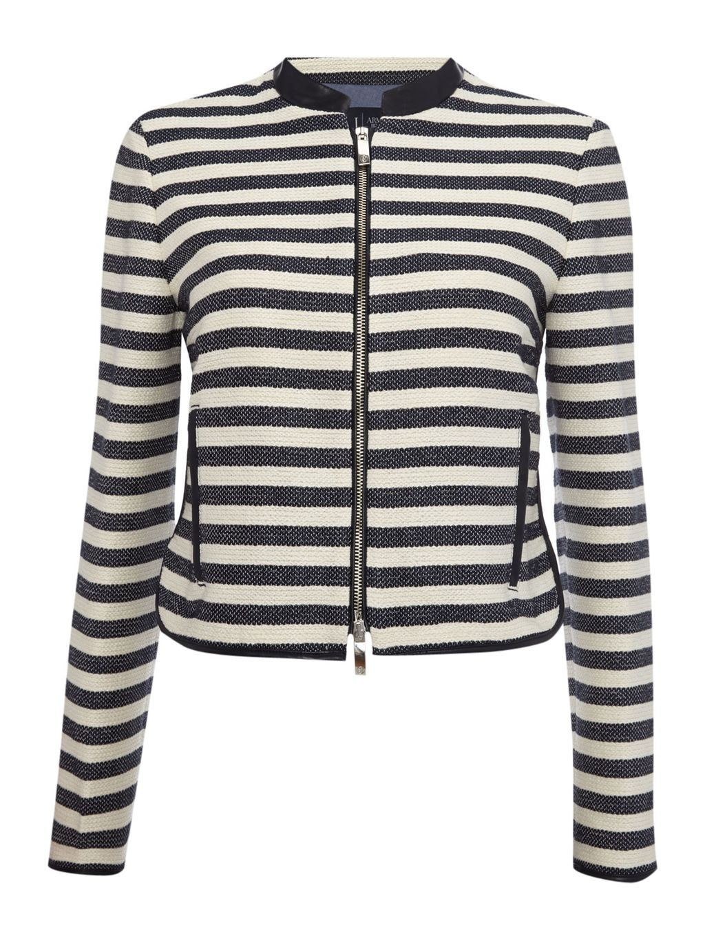 Stripe Jacket With Pu Trim, Navy & White - pattern: horizontal stripes; style: single breasted blazer; collar: round collar/collarless; secondary colour: white; predominant colour: black; occasions: evening, creative work; length: standard; fit: tailored/fitted; fibres: cotton - mix; sleeve length: long sleeve; sleeve style: standard; trends: monochrome; collar break: high; pattern type: fabric; texture group: woven light midweight; season: a/w 2015; wardrobe: investment