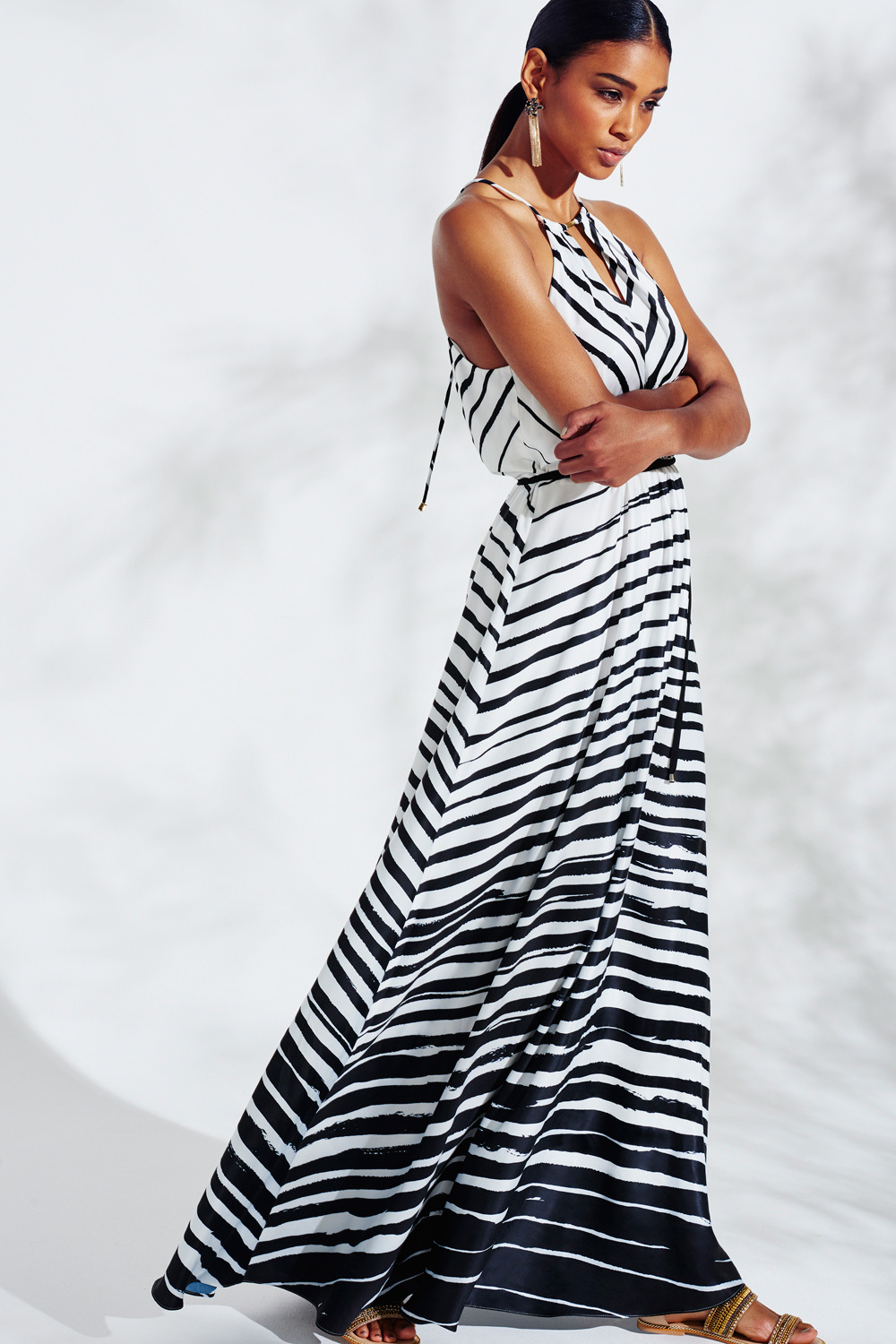 Marseille Stripe Maxi Dress - sleeve style: sleeveless; style: maxi dress; pattern: striped; neckline: low halter neck; secondary colour: white; predominant colour: black; occasions: evening; length: floor length; fit: body skimming; fibres: polyester/polyamide - 100%; sleeve length: sleeveless; pattern type: fabric; texture group: jersey - stretchy/drapey; multicoloured: multicoloured; season: a/w 2015; wardrobe: event