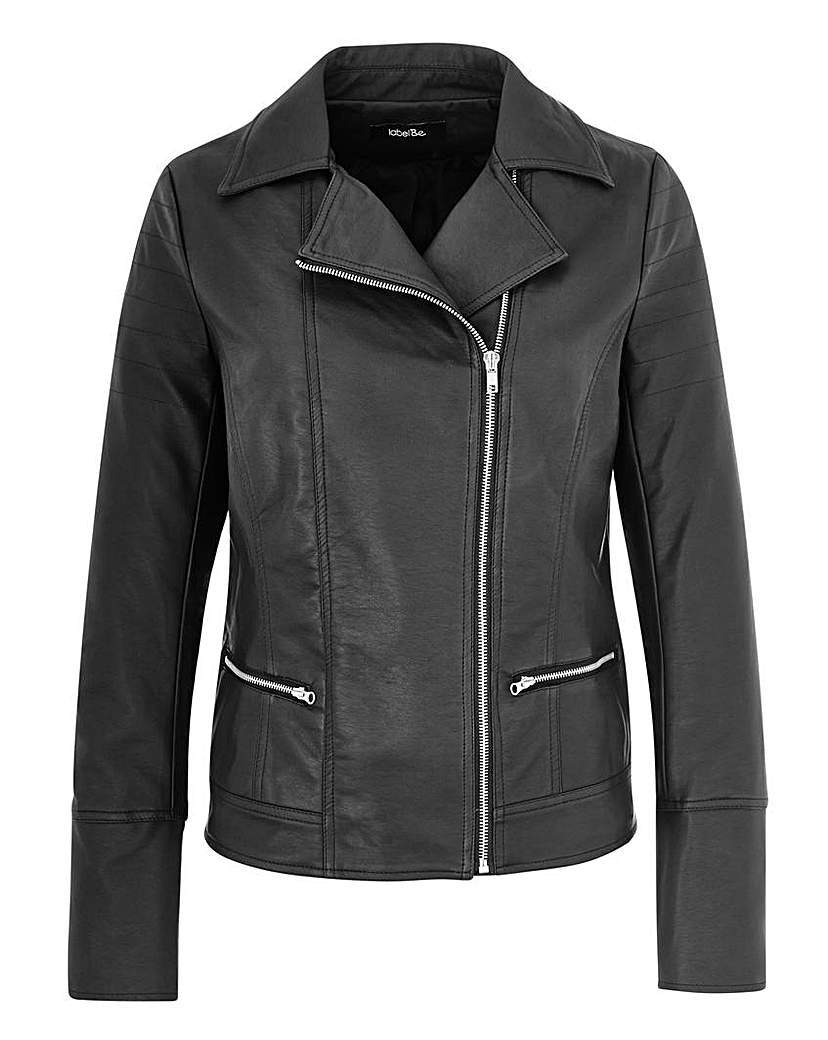 Pu Biker Jacket - pattern: plain; style: biker; collar: asymmetric biker; fit: slim fit; predominant colour: black; occasions: casual, creative work; length: standard; sleeve length: long sleeve; sleeve style: standard; texture group: leather; collar break: medium; pattern type: fabric; fibres: pvc/polyurethene - 100%; season: a/w 2015; wardrobe: basic