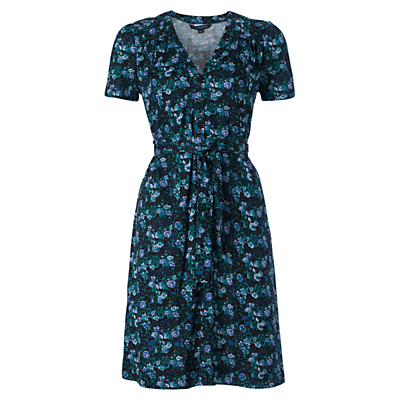 Marilyn Floral Tea Dress, Blue - style: tea dress; neckline: v-neck; waist detail: belted waist/tie at waist/drawstring; predominant colour: navy; secondary colour: turquoise; occasions: casual, creative work; length: on the knee; fit: fitted at waist & bust; fibres: viscose/rayon - 100%; hip detail: subtle/flattering hip detail; sleeve length: short sleeve; sleeve style: standard; pattern type: fabric; pattern: florals; texture group: woven light midweight; multicoloured: multicoloured; season: s/s 2016; wardrobe: highlight