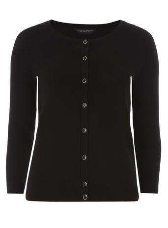 Womens Black Cotton Cardi Black - neckline: round neck; pattern: plain; predominant colour: black; occasions: casual, creative work; length: standard; style: standard; fibres: cotton - mix; fit: standard fit; sleeve length: 3/4 length; sleeve style: standard; texture group: knits/crochet; pattern type: knitted - fine stitch; season: a/w 2015; wardrobe: basic
