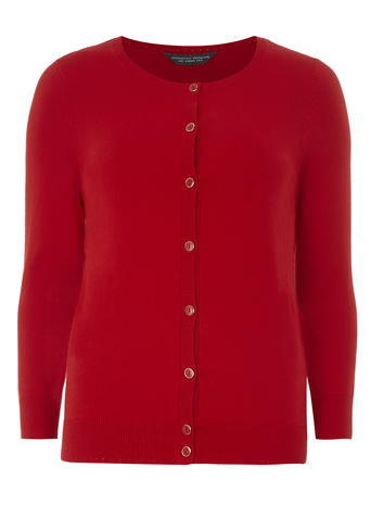 Womens **Tall Red Cotton Cardigan Red - neckline: round neck; pattern: plain; predominant colour: true red; occasions: casual, creative work; length: standard; style: standard; fibres: cotton - mix; fit: standard fit; sleeve length: long sleeve; sleeve style: standard; texture group: knits/crochet; pattern type: knitted - fine stitch; season: a/w 2015; wardrobe: highlight