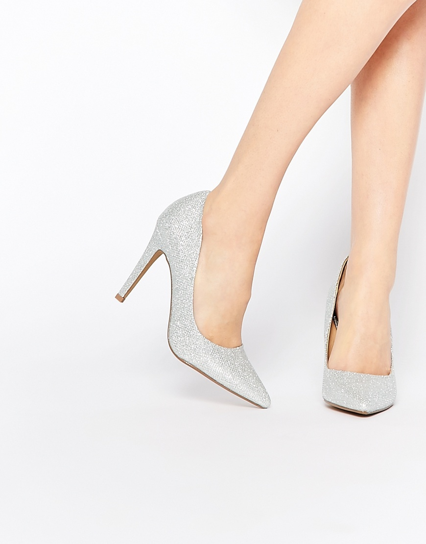 By Dune Addyson Silver Heeled Court Shoes Silver - predominant colour: silver; occasions: evening; material: leather; heel height: high; embellishment: glitter; heel: stiletto; toe: pointed toe; style: courts; finish: metallic; pattern: plain; season: a/w 2015; wardrobe: event