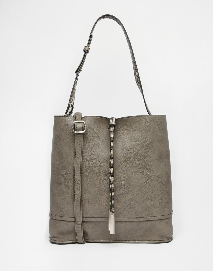 Reversible Bag Grey/Snake - predominant colour: mid grey; occasions: casual, creative work; type of pattern: standard; style: shoulder; length: shoulder (tucks under arm); size: standard; material: faux leather; pattern: plain; finish: plain; season: a/w 2015