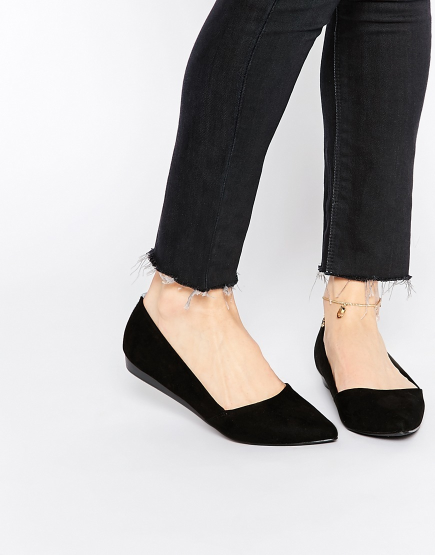 Pointed Slip On Shoes Black - predominant colour: black; occasions: casual, work, creative work; material: suede; heel height: flat; toe: pointed toe; style: ballerinas / pumps; finish: plain; pattern: plain; season: a/w 2015; wardrobe: basic