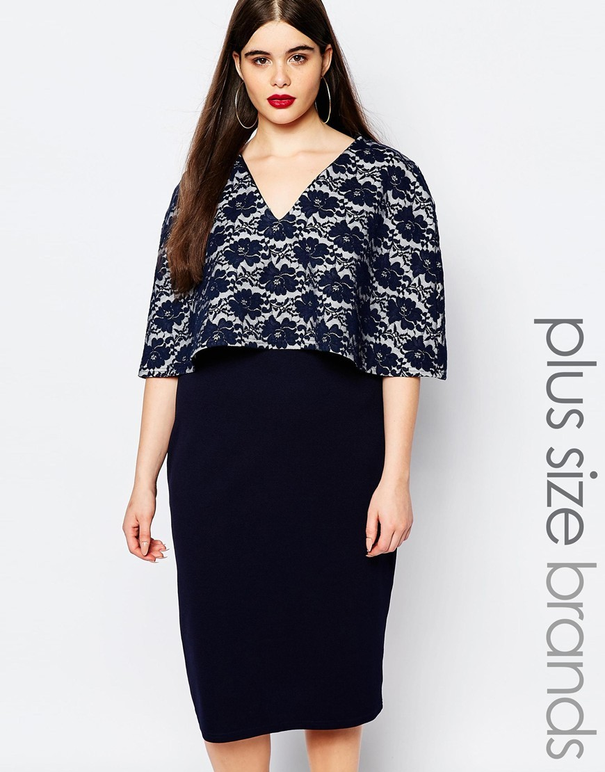 Plus Midi Dress With Lace Cape Navy - style: shift; length: below the knee; neckline: low v-neck; hip detail: fitted at hip; secondary colour: ivory/cream; predominant colour: navy; occasions: evening, occasion; fit: fitted at waist & bust; fibres: polyester/polyamide - 100%; bust detail: contrast pattern/fabric/detail at bust; sleeve length: short sleeve; sleeve style: standard; texture group: lace; pattern type: fabric; pattern size: standard; pattern: patterned/print; season: a/w 2015