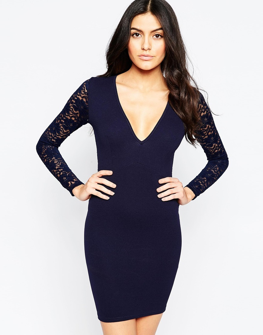 Essentials Plunge Bodycon Dress With Lace Back And Sleeves Navy - length: mid thigh; neckline: low v-neck; fit: tight; pattern: plain; style: bodycon; hip detail: draws attention to hips; predominant colour: navy; occasions: evening; fibres: polyester/polyamide - stretch; sleeve length: long sleeve; sleeve style: standard; texture group: jersey - clingy; pattern type: fabric; embellishment: lace; season: a/w 2015; wardrobe: event