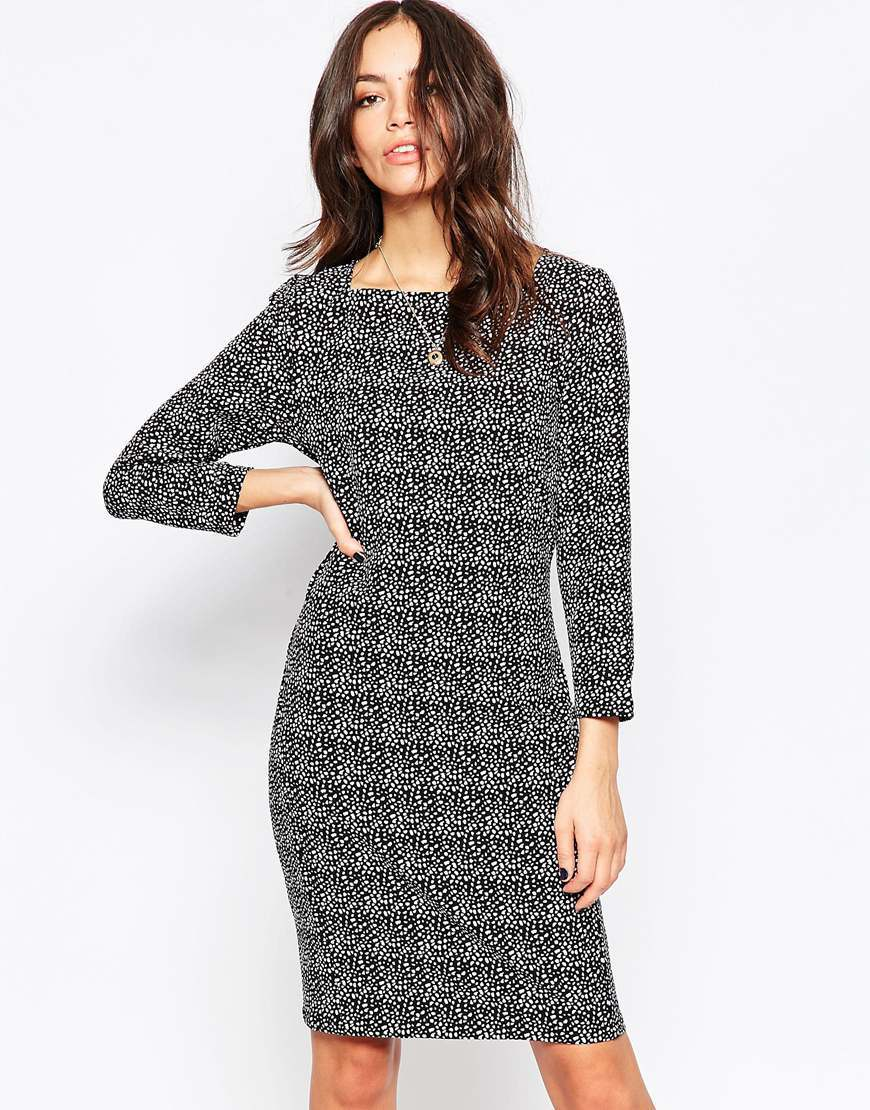 3/4 Sleeve Pencil Dress With Square Neck 999 Black - neckline: round neck; style: bodycon; predominant colour: black; length: just above the knee; fit: body skimming; fibres: polyester/polyamide - stretch; sleeve length: 3/4 length; sleeve style: standard; trends: monochrome; pattern type: fabric; pattern size: standard; pattern: patterned/print; texture group: woven light midweight; occasions: creative work; season: a/w 2015