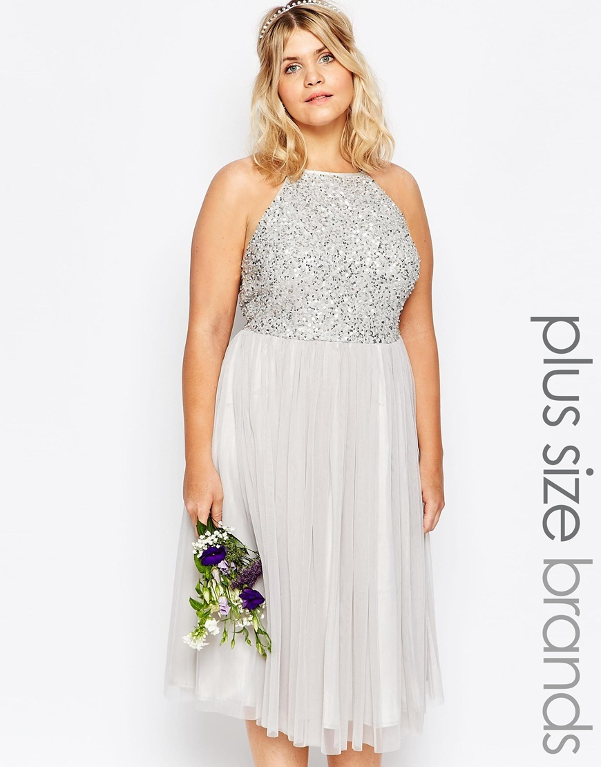 High Neck Sequin Tulle Midi Dress Grey - length: calf length; pattern: plain; sleeve style: sleeveless; neckline: high neck; secondary colour: white; predominant colour: silver; fit: fitted at waist & bust; style: fit & flare; fibres: polyester/polyamide - 100%; occasions: occasion; hip detail: subtle/flattering hip detail; sleeve length: sleeveless; texture group: sheer fabrics/chiffon/organza etc.; pattern type: fabric; embellishment: sequins; season: a/w 2015; wardrobe: event; embellishment location: bust