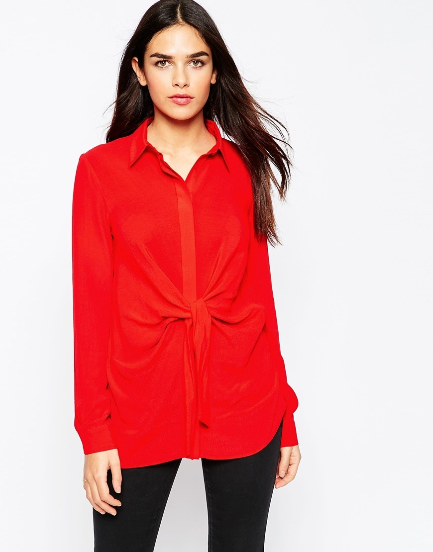 Longline Tie Front Blouse Red - neckline: shirt collar/peter pan/zip with opening; pattern: plain; length: below the bottom; style: blouse; waist detail: flattering waist detail; predominant colour: true red; occasions: casual, creative work; fibres: viscose/rayon - 100%; fit: body skimming; sleeve length: long sleeve; sleeve style: standard; pattern type: fabric; texture group: other - light to midweight; season: a/w 2015; wardrobe: highlight