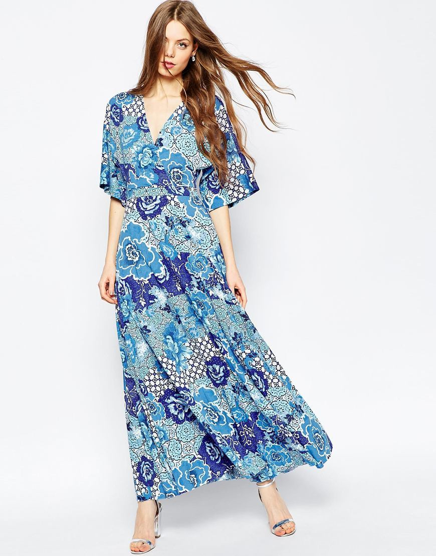Kimono Sleeve Maxi With Pleated Hem In Mixed Floral Print Multi - neckline: low v-neck; sleeve style: dolman/batwing; fit: empire; style: maxi dress; length: ankle length; predominant colour: royal blue; secondary colour: pale blue; occasions: casual, evening; fibres: polyester/polyamide - 100%; sleeve length: 3/4 length; pattern type: fabric; pattern size: standard; pattern: patterned/print; texture group: jersey - stretchy/drapey; season: a/w 2015; wardrobe: highlight