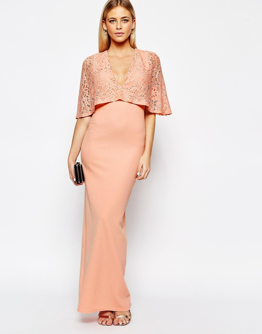 Kimono Sleeve Maxi Dress With Lace Overlay Nude - neckline: low v-neck; sleeve style: angel/waterfall; style: maxi dress; predominant colour: nude; occasions: evening, occasion; length: floor length; fit: body skimming; fibres: polyester/polyamide - stretch; sleeve length: half sleeve; pattern type: fabric; pattern size: standard; pattern: patterned/print; texture group: jersey - stretchy/drapey; embellishment: lace; season: a/w 2015; wardrobe: event; embellishment location: bust