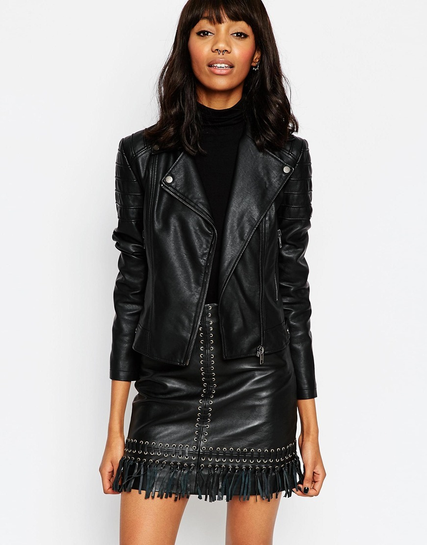 Ultimate Leather Look Biker Jacket With Piped Detail Black - pattern: plain; style: biker; collar: asymmetric biker; predominant colour: black; occasions: casual; length: standard; fit: tailored/fitted; fibres: viscose/rayon - 100%; sleeve length: long sleeve; sleeve style: standard; texture group: leather; collar break: medium; pattern type: fabric; season: a/w 2015; wardrobe: basic