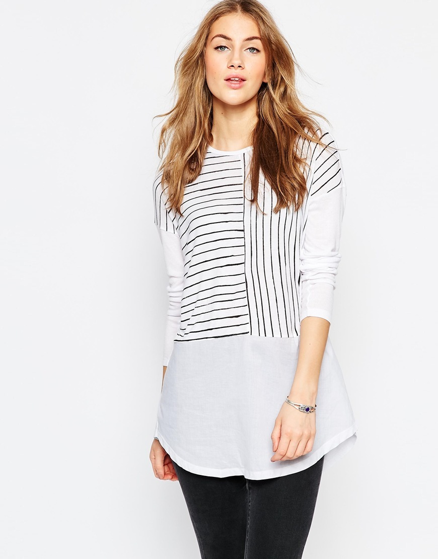 Longline Top In Cutabout Stripe With Woven Panel White - neckline: round neck; pattern: striped; length: below the bottom; predominant colour: white; occasions: casual, creative work; style: top; fibres: viscose/rayon - 100%; fit: body skimming; sleeve length: 3/4 length; sleeve style: standard; pattern type: fabric; pattern size: standard; texture group: jersey - stretchy/drapey; season: a/w 2015