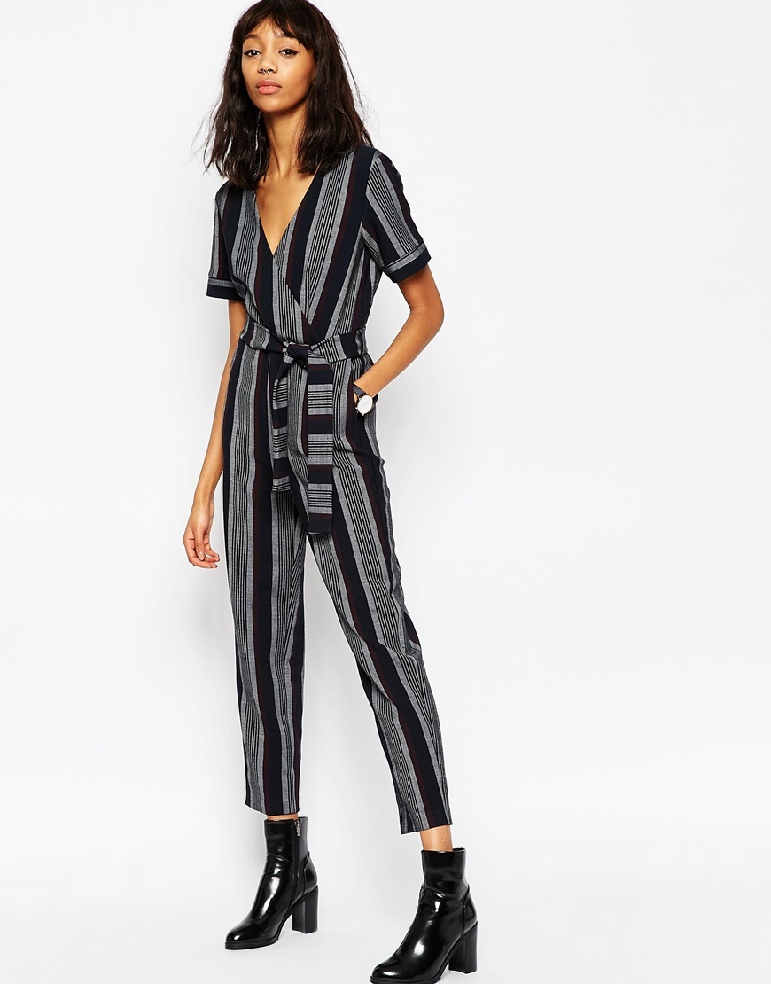 Premium Stripe Jumpsuit With Wrap Multi - length: standard; neckline: low v-neck; fit: fitted at waist; pattern: vertical stripes; secondary colour: charcoal; predominant colour: black; occasions: casual, creative work; fibres: polyester/polyamide - mix; sleeve length: half sleeve; sleeve style: standard; style: jumpsuit; pattern type: fabric; pattern size: big & busy; texture group: other - light to midweight; multicoloured: multicoloured; season: a/w 2015