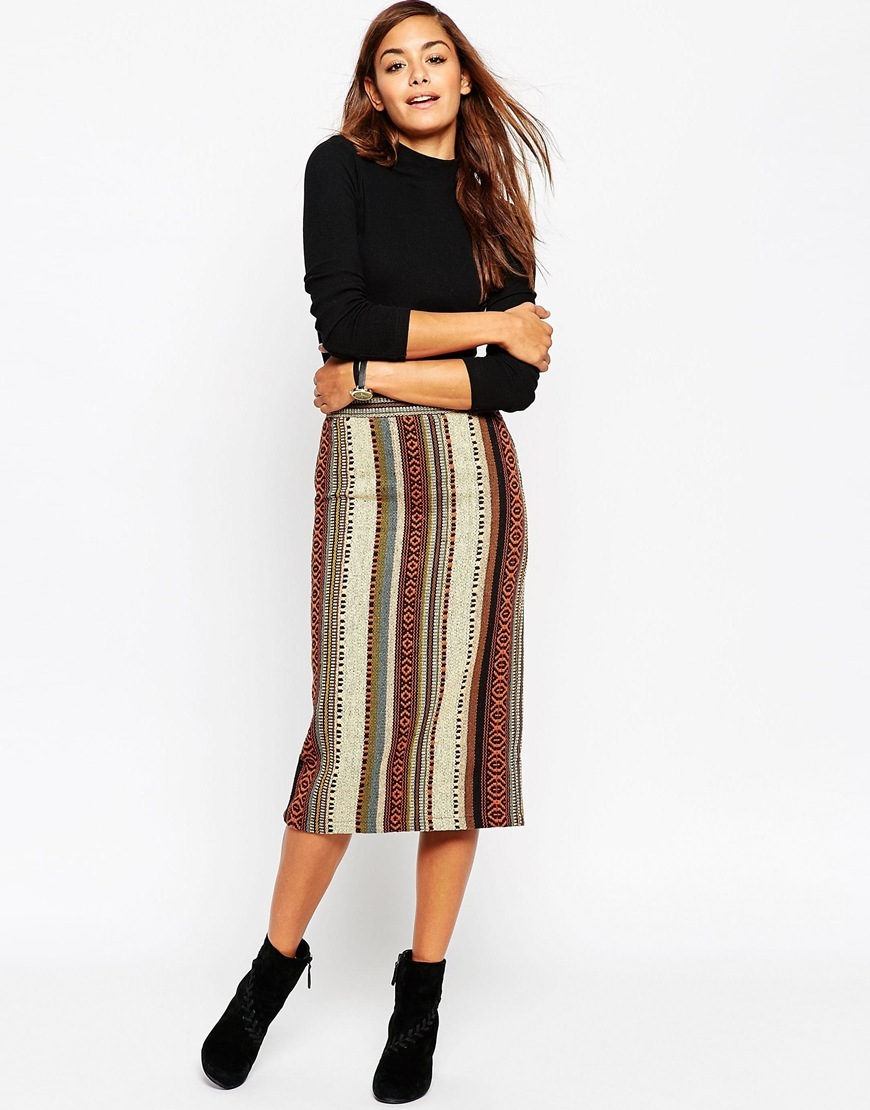 Pencil Skirt In Stripe Jacquard Multi - length: below the knee; pattern: vertical stripes; style: pencil; waist: high rise; predominant colour: chocolate brown; occasions: casual, creative work; fibres: cotton - mix; fit: straight cut; pattern type: fabric; texture group: brocade/jacquard; pattern size: big & busy (bottom); multicoloured: multicoloured; season: a/w 2015; wardrobe: highlight