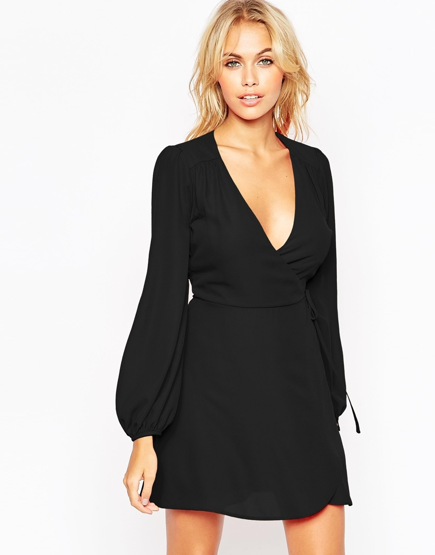 Mini Wrap Dress With Blouson Sleeve Black - length: mid thigh; neckline: plunge; fit: fitted at waist; pattern: plain; predominant colour: black; occasions: evening; style: fit & flare; fibres: polyester/polyamide - 100%; sleeve length: long sleeve; sleeve style: standard; texture group: crepes; pattern type: fabric; season: a/w 2015