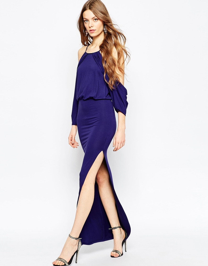 Cold Shoulder Maxi Bodycon Dress Navy - neckline: round neck; pattern: plain; style: maxi dress; length: ankle length; predominant colour: navy; fit: body skimming; fibres: viscose/rayon - stretch; occasions: occasion; shoulder detail: cut out shoulder; sleeve length: long sleeve; sleeve style: standard; pattern type: fabric; texture group: jersey - stretchy/drapey; season: a/w 2015; wardrobe: event