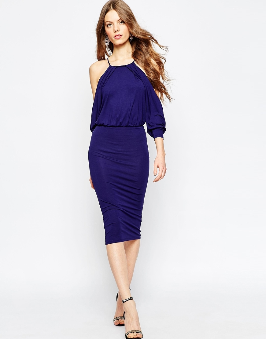 Cold Shoulder Bodycon Midi Dress Navy - style: shift; length: below the knee; neckline: round neck; pattern: plain; sleeve style: sleeveless; waist detail: fitted waist; predominant colour: navy; occasions: evening, occasion; fit: body skimming; fibres: viscose/rayon - stretch; shoulder detail: cut out shoulder; sleeve length: sleeveless; pattern type: fabric; pattern size: standard; texture group: jersey - stretchy/drapey; season: a/w 2015; wardrobe: event