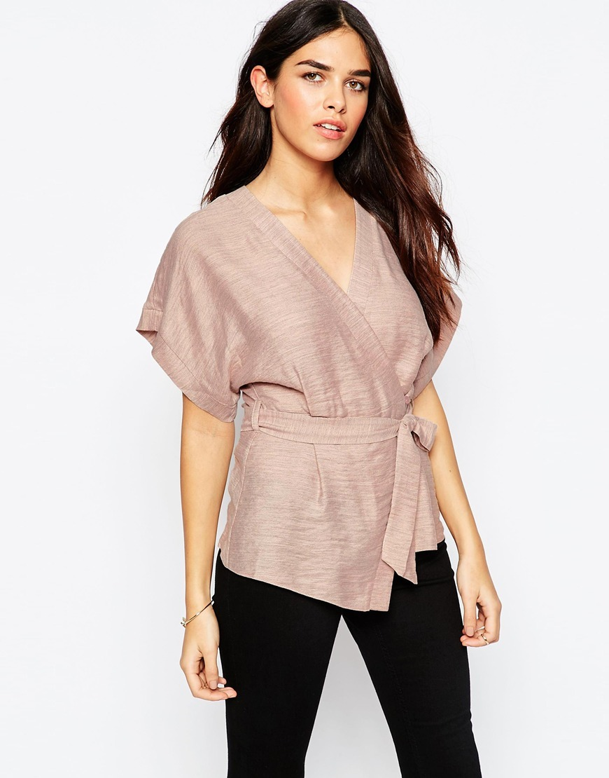 Casual Obi Band Wrap Blouse Pink - neckline: low v-neck; pattern: plain; style: wrap/faux wrap; waist detail: belted waist/tie at waist/drawstring; predominant colour: blush; length: standard; fibres: polyester/polyamide - 100%; fit: body skimming; sleeve length: short sleeve; sleeve style: standard; pattern type: fabric; texture group: woven light midweight; occasions: creative work; season: a/w 2015; wardrobe: basic