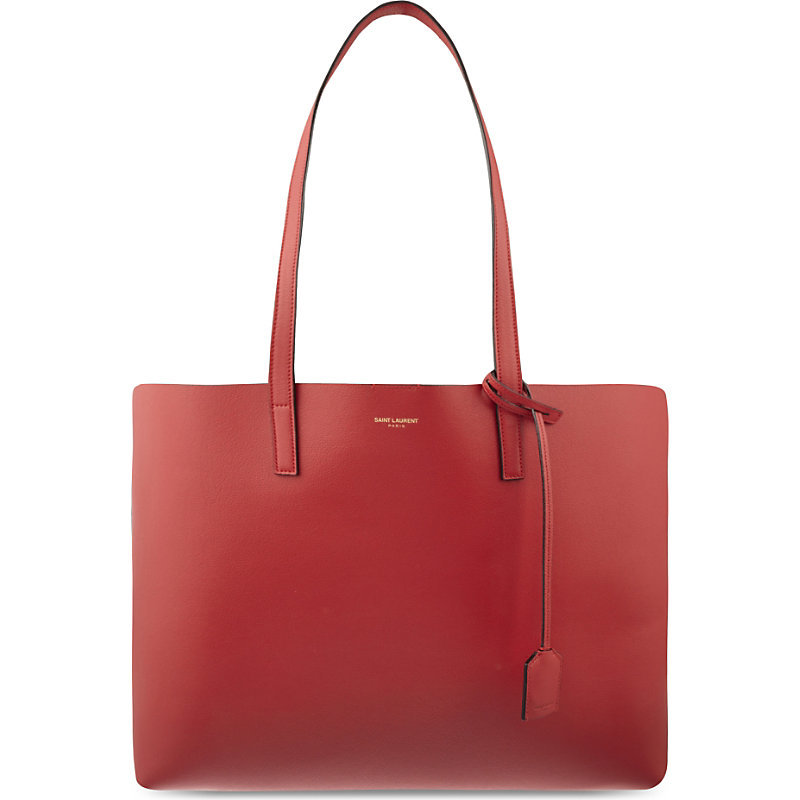 Large Leather Tote, Women's, Rouge Vif - predominant colour: true red; type of pattern: standard; style: tote; length: shoulder (tucks under arm); size: standard; material: leather; pattern: plain; finish: plain; occasions: creative work; season: a/w 2015; wardrobe: highlight