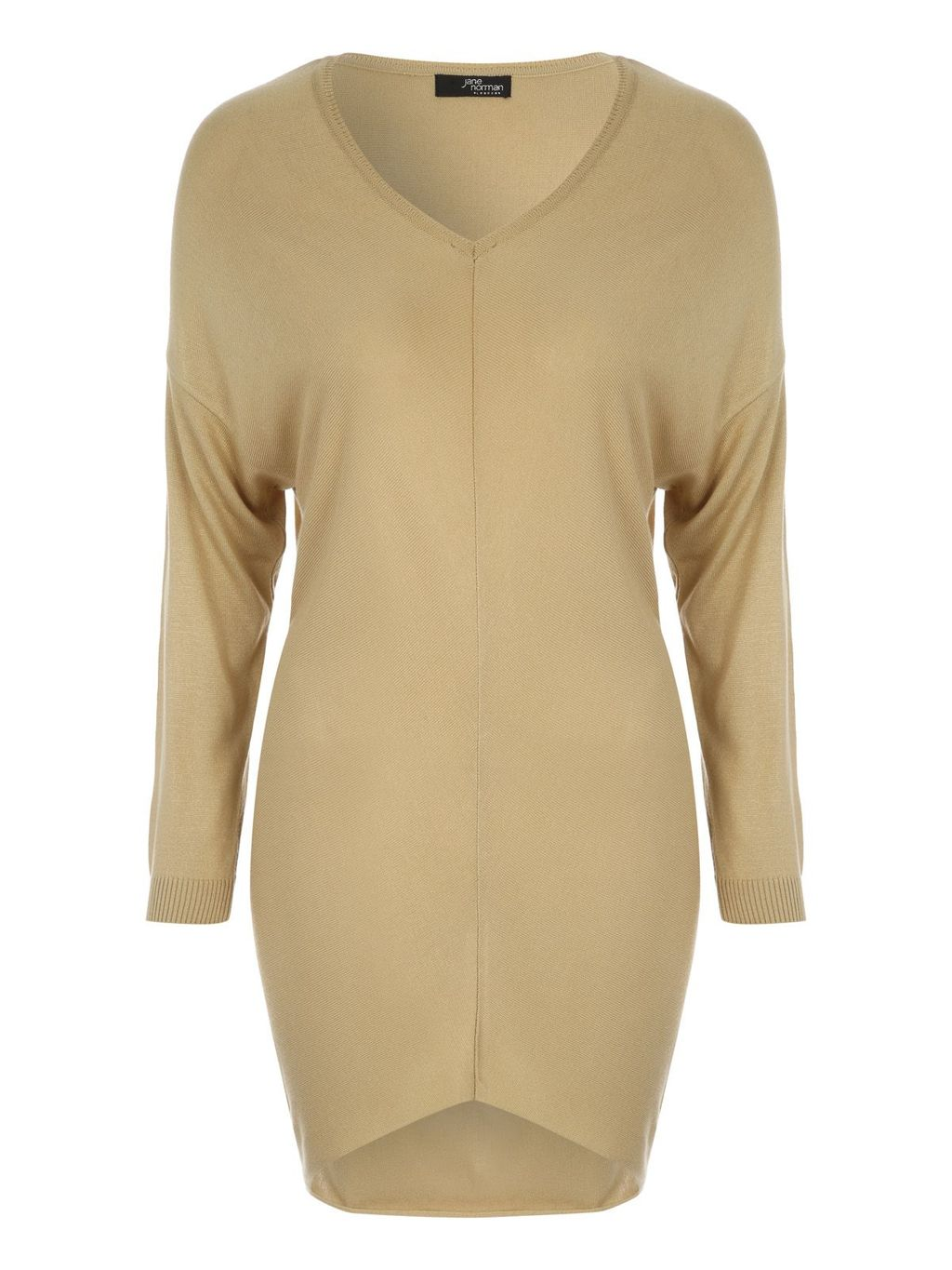 Dropped Shoulder Jumper, Camel - neckline: v-neck; pattern: plain; style: tunic; predominant colour: nude; occasions: casual, creative work; fit: slim fit; length: mid thigh; sleeve length: long sleeve; sleeve style: standard; texture group: knits/crochet; pattern type: knitted - fine stitch; fibres: viscose/rayon - mix; season: a/w 2015; wardrobe: basic