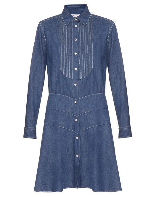 Point Collar Denim Dress - style: shirt; length: mid thigh; neckline: shirt collar/peter pan/zip with opening; pattern: plain; bust detail: subtle bust detail; predominant colour: denim; occasions: casual; fit: straight cut; fibres: cotton - stretch; sleeve length: long sleeve; sleeve style: standard; texture group: denim; pattern type: fabric; season: a/w 2015; wardrobe: basic