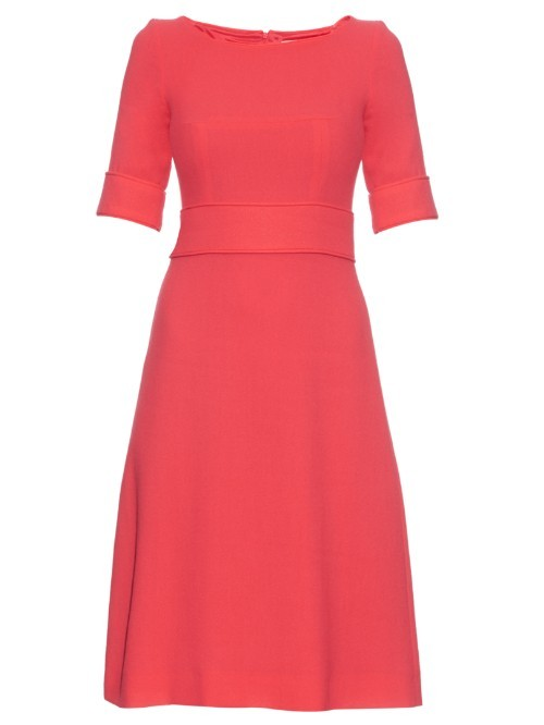 Berkley Wool Crepe Dress - length: below the knee; neckline: round neck; pattern: plain; waist detail: fitted waist; predominant colour: true red; fit: fitted at waist & bust; style: fit & flare; fibres: wool - mix; sleeve length: 3/4 length; sleeve style: standard; texture group: crepes; pattern type: fabric; occasions: creative work; season: a/w 2015; wardrobe: highlight