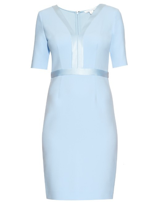 Masie Dress - style: shift; neckline: low v-neck; fit: tailored/fitted; pattern: plain; waist detail: embellishment at waist/feature waistband; predominant colour: pale blue; length: just above the knee; fibres: polyester/polyamide - mix; occasions: occasion; sleeve length: half sleeve; sleeve style: standard; pattern type: fabric; texture group: other - light to midweight; season: a/w 2015