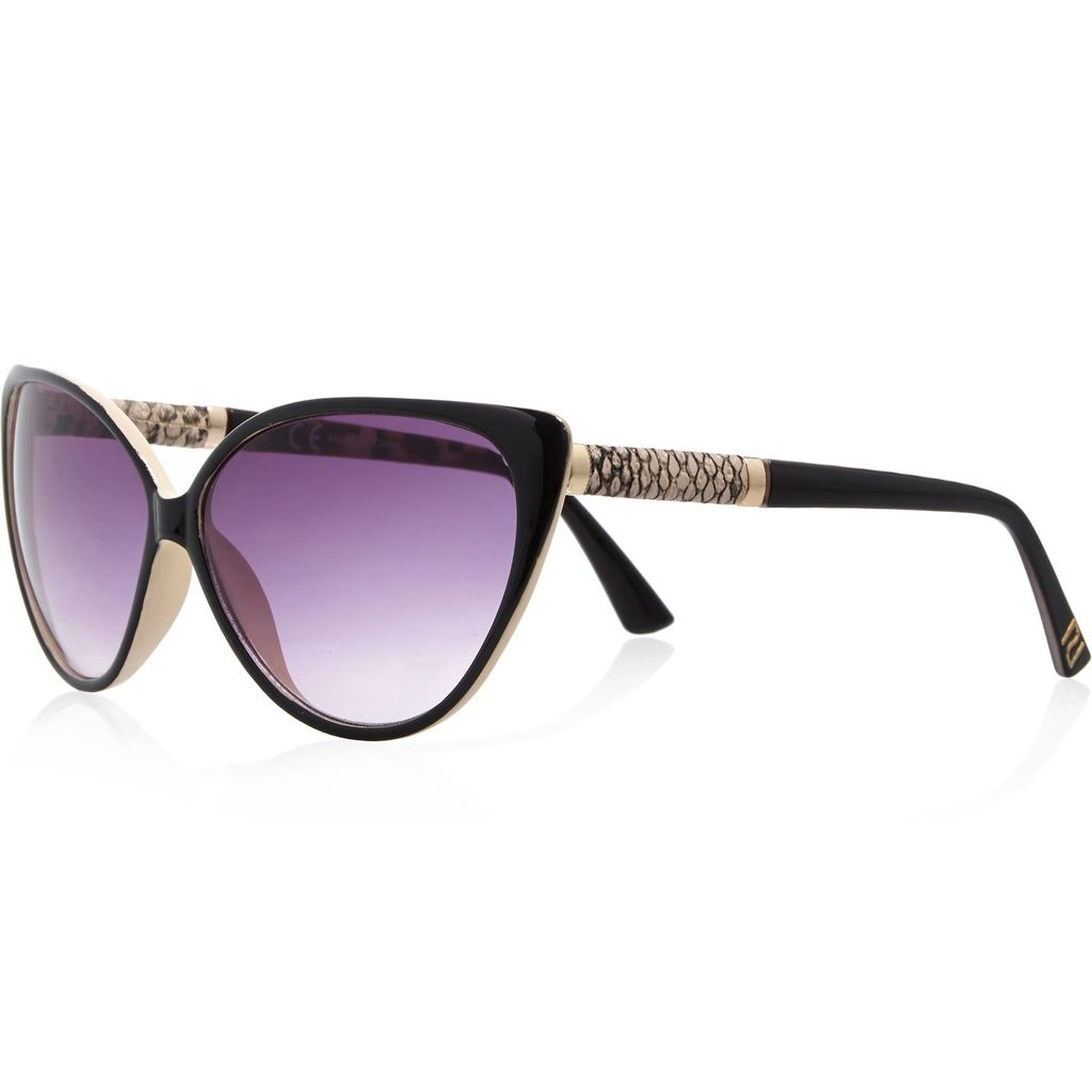 Womens Black Cat Eye Sunglasses - predominant colour: black; occasions: casual, holiday; style: cateye; size: large; material: plastic/rubber; pattern: plain; finish: plain; season: a/w 2015; wardrobe: basic