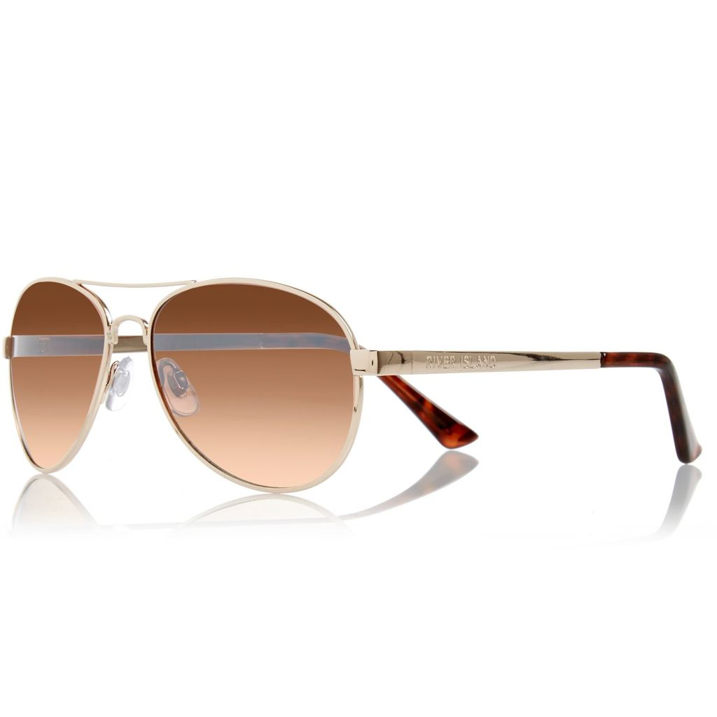 Womens Gold Aviator Style Sunglasses - predominant colour: gold; occasions: casual, holiday; style: aviator; size: standard; material: chain/metal; pattern: plain; finish: metallic; season: a/w 2015; wardrobe: basic