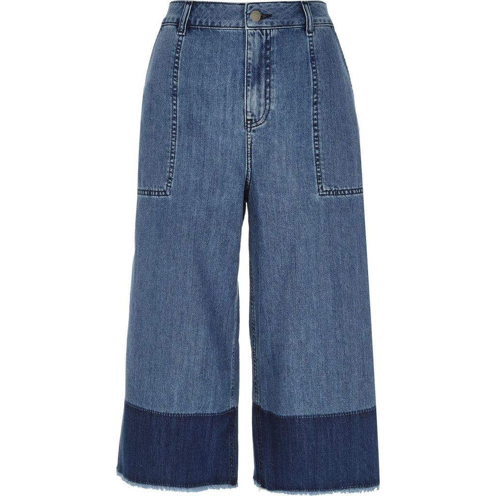 Womens Blue Denim Dip Dye Raw Hem Culottes - pattern: plain; waist: high rise; predominant colour: denim; occasions: casual, creative work; length: calf length; fibres: cotton - 100%; texture group: denim; fit: wide leg; pattern type: fabric; style: standard; season: a/w 2015; wardrobe: highlight