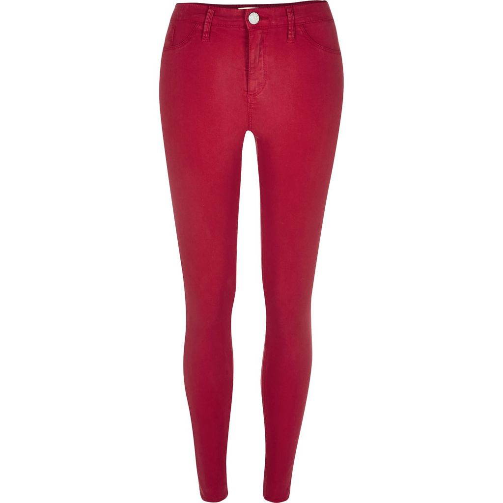 Womens Red Sateen Molly Jeggings - style: skinny leg; length: standard; pattern: plain; waist: mid/regular rise; predominant colour: true red; occasions: casual; fibres: cotton - stretch; texture group: denim; pattern type: fabric; season: a/w 2015; wardrobe: highlight
