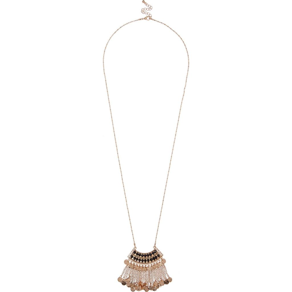 Womens Gold Tone Dangly Long Necklace - predominant colour: gold; occasions: evening, occasion; style: pendant; length: long; size: standard; material: chain/metal; finish: metallic; embellishment: beading; season: a/w 2015; wardrobe: event
