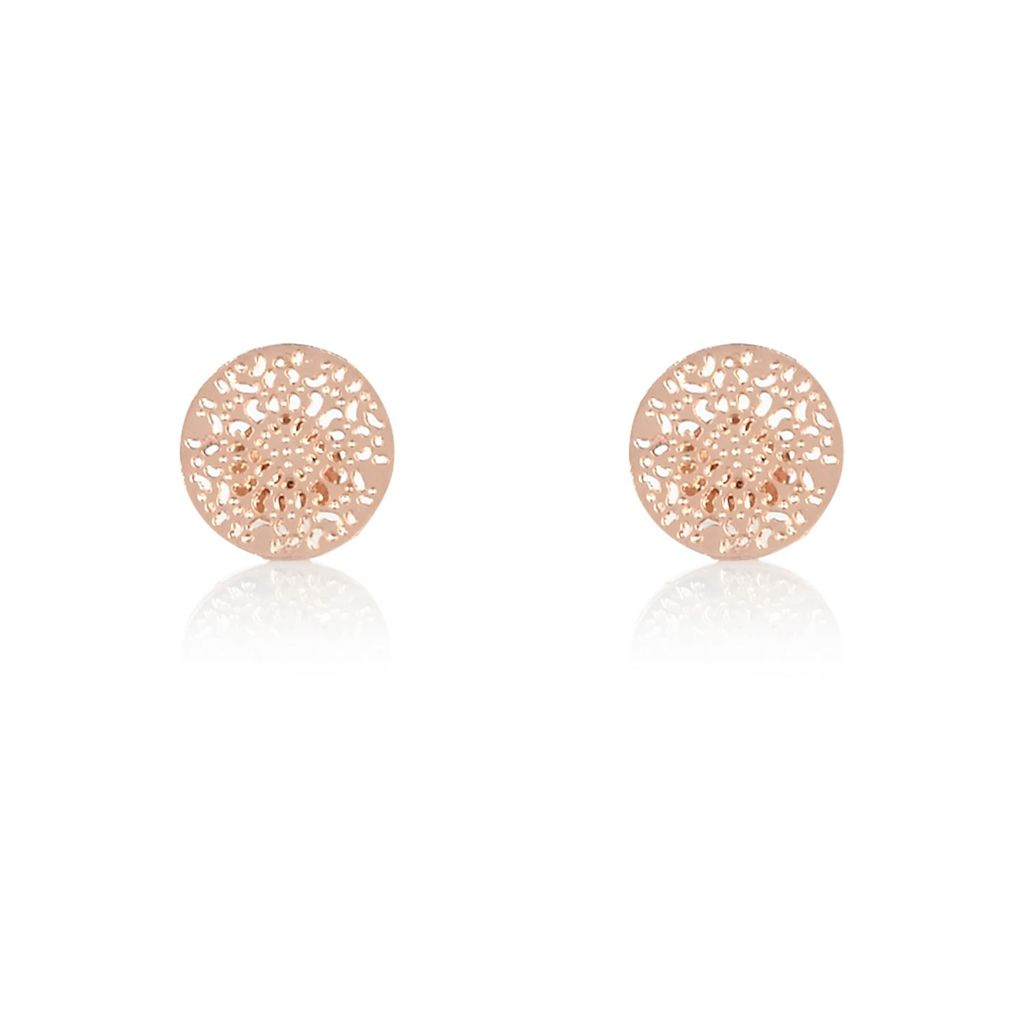 Womens Rose Gold Tone Filigree Stud Earrings - predominant colour: gold; occasions: evening, creative work; style: stud; length: short; size: small/fine; material: chain/metal; fastening: pierced; finish: metallic; season: a/w 2015; wardrobe: basic