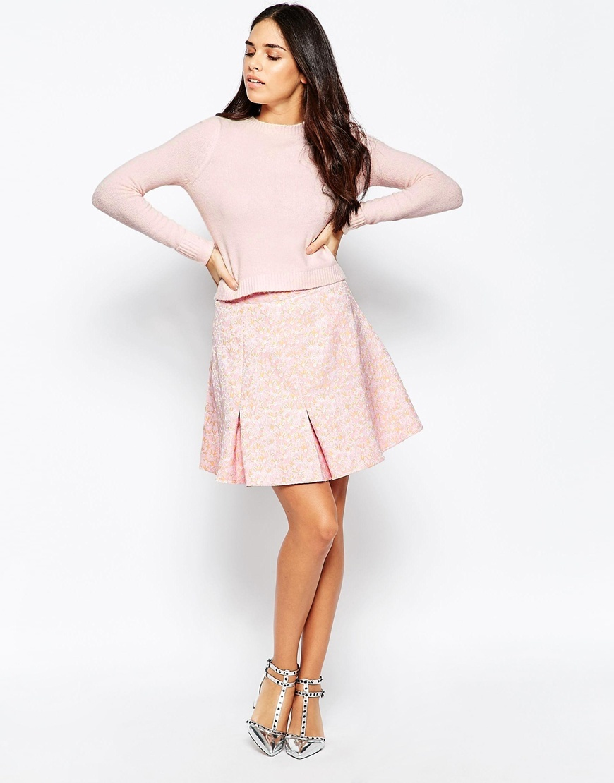 A Line Skirt Pink - pattern: plain; fit: loose/voluminous; waist: mid/regular rise; predominant colour: pink; length: just above the knee; style: a-line; fibres: cotton - stretch; occasions: occasion, creative work; hip detail: adds bulk at the hips; pattern type: fabric; texture group: brocade/jacquard; season: a/w 2015; wardrobe: highlight