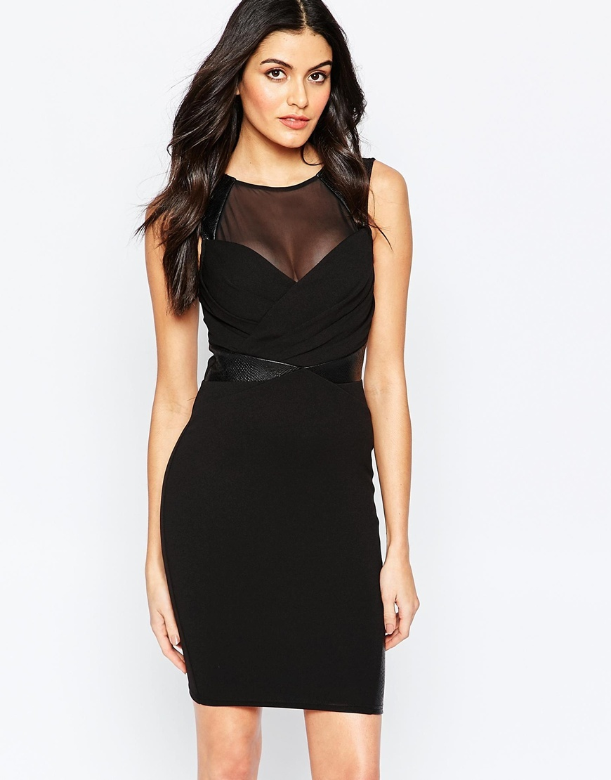 Bodycon Dress With Sheer Panel Black - style: shift; length: mid thigh; neckline: round neck; fit: tight; pattern: plain; sleeve style: sleeveless; waist detail: flattering waist detail; predominant colour: black; occasions: evening; fibres: polyester/polyamide - stretch; sleeve length: sleeveless; pattern type: fabric; texture group: jersey - stretchy/drapey; season: a/w 2015; wardrobe: event