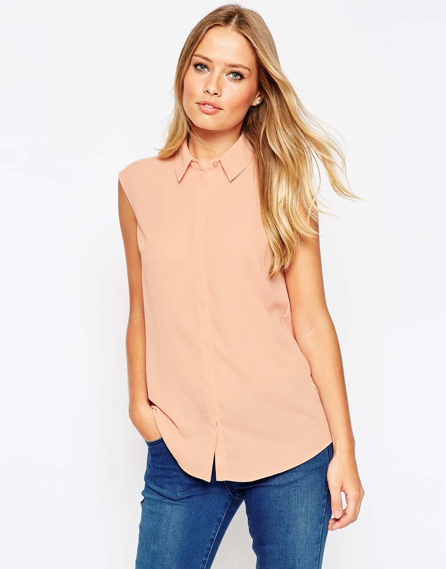 Sleeveless Blouse Blush - neckline: shirt collar/peter pan/zip with opening; pattern: plain; sleeve style: sleeveless; style: blouse; predominant colour: pink; occasions: casual, creative work; length: standard; fibres: polyester/polyamide - 100%; fit: body skimming; sleeve length: sleeveless; pattern type: fabric; texture group: other - light to midweight; season: a/w 2015; wardrobe: highlight