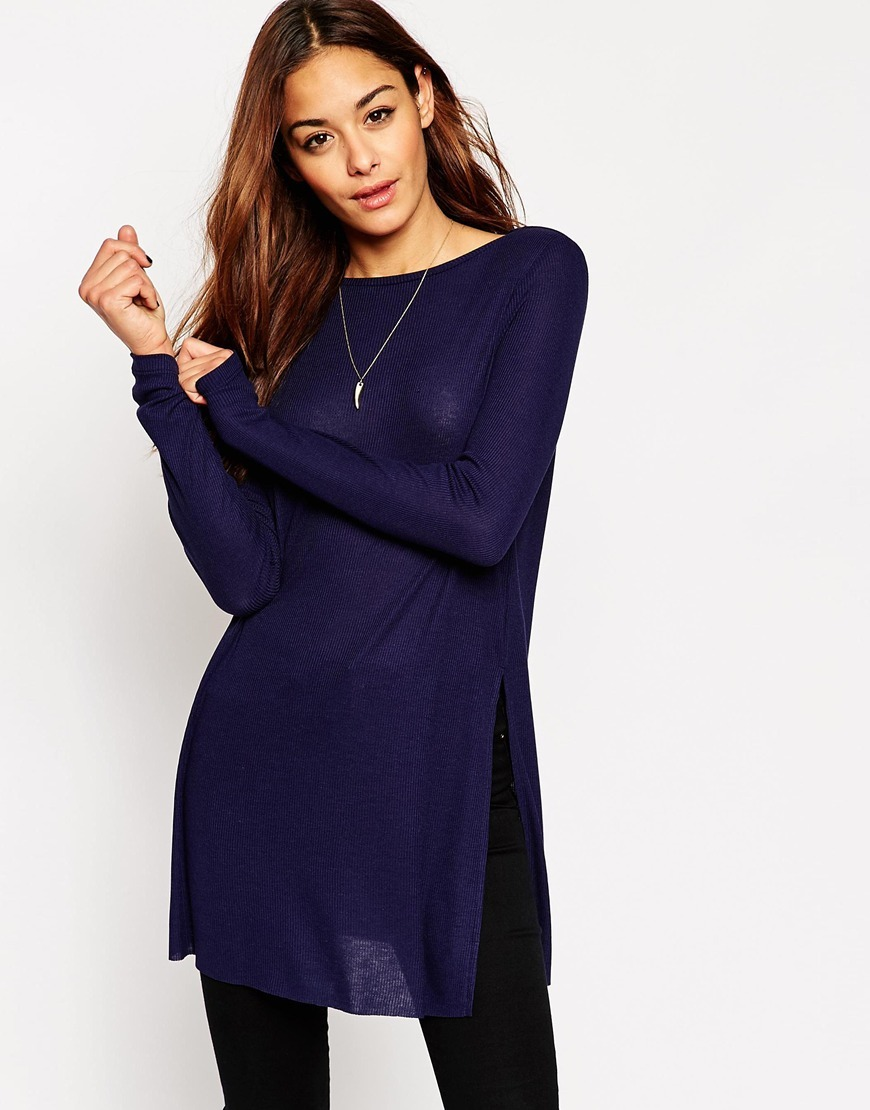 Longline Top With Side Splits And Long Sleeves Navy - pattern: plain; style: tunic; hip detail: draws attention to hips; predominant colour: navy; occasions: casual; fit: body skimming; neckline: crew; length: mid thigh; sleeve length: long sleeve; sleeve style: standard; texture group: crepes; pattern type: fabric; fibres: viscose/rayon - mix; season: a/w 2015; wardrobe: basic
