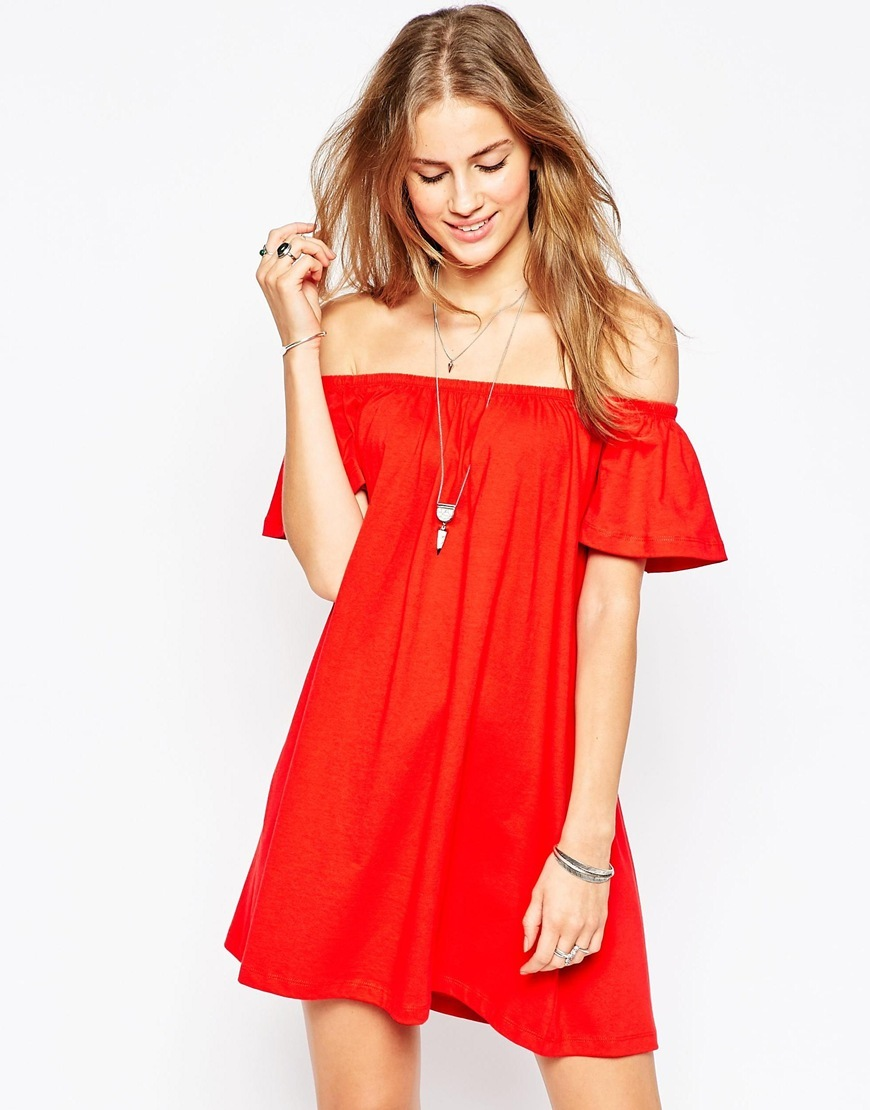 Off Shoulder Mini Dress Bright Red - style: smock; length: mini; neckline: off the shoulder; sleeve style: angel/waterfall; fit: loose; pattern: plain; predominant colour: true red; occasions: casual, holiday; fibres: cotton - stretch; sleeve length: short sleeve; pattern type: fabric; texture group: jersey - stretchy/drapey; season: a/w 2015; wardrobe: highlight