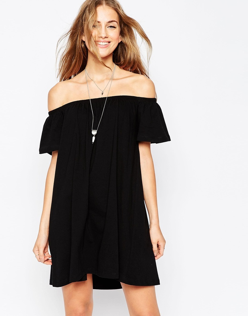 Off Shoulder Mini Dress Black - style: tunic; length: mid thigh; neckline: off the shoulder; fit: loose; pattern: plain; predominant colour: black; occasions: casual; fibres: cotton - 100%; sleeve length: short sleeve; sleeve style: standard; pattern type: fabric; texture group: jersey - stretchy/drapey; season: a/w 2015; wardrobe: highlight