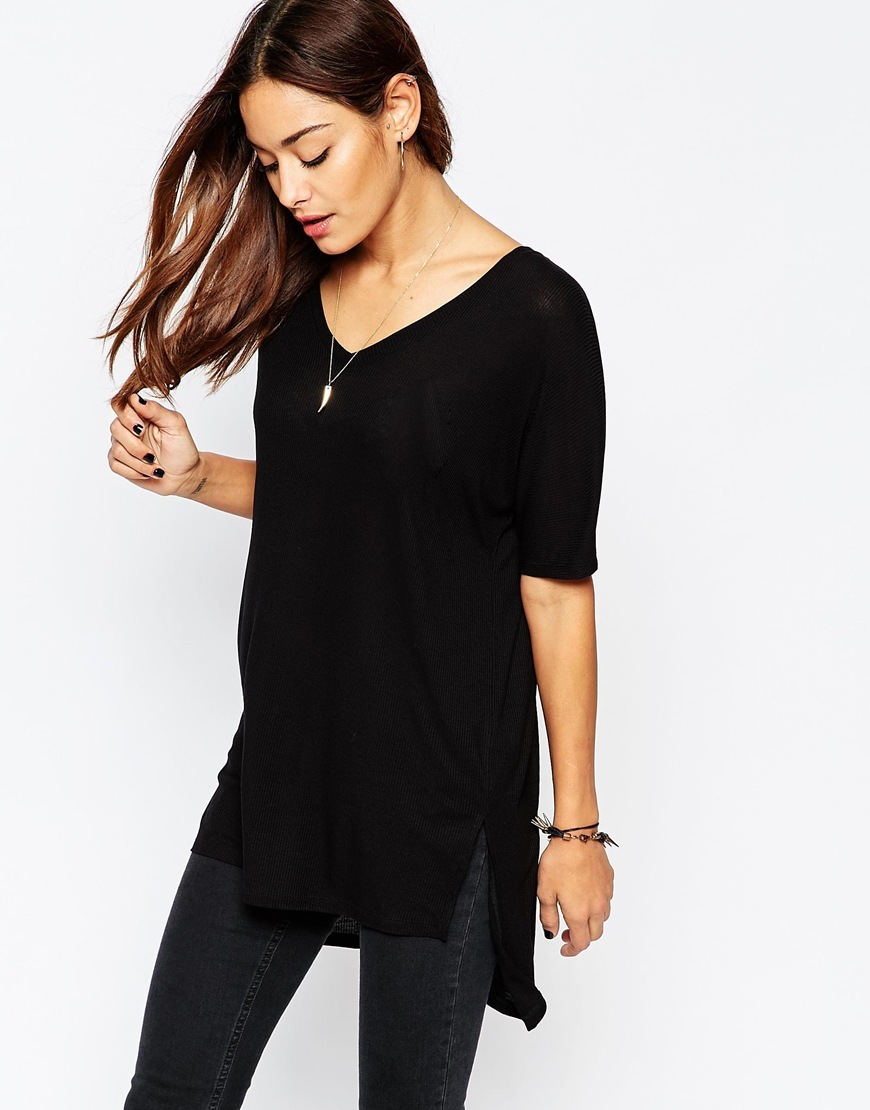 V Neck Oversized Slouchy Rib Black - neckline: v-neck; pattern: plain; length: below the bottom; hip detail: draws attention to hips; predominant colour: black; occasions: casual; style: top; fit: loose; sleeve length: half sleeve; sleeve style: standard; pattern type: fabric; texture group: jersey - stretchy/drapey; fibres: viscose/rayon - mix; season: a/w 2015; wardrobe: basic