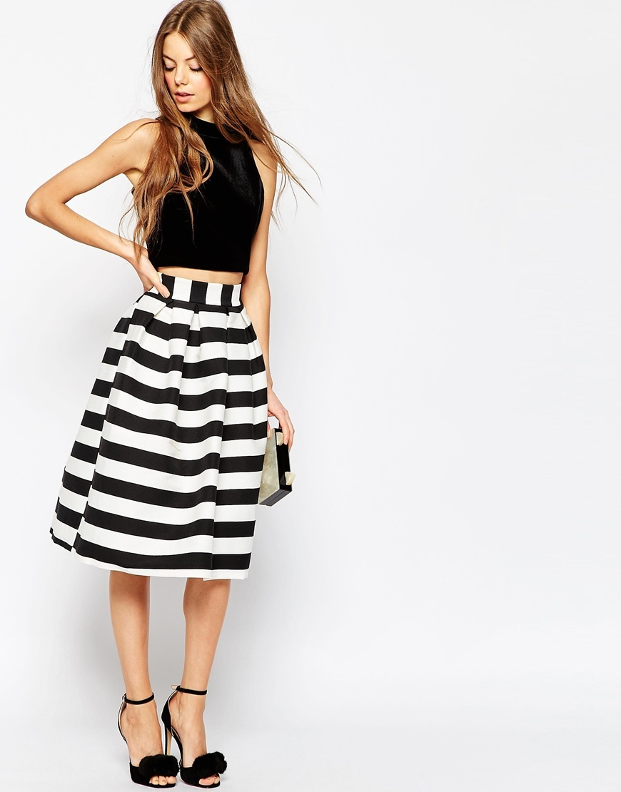Midi Prom Skirt In Stripe Multi - length: below the knee; style: full/prom skirt; fit: loose/voluminous; waist: mid/regular rise; secondary colour: white; predominant colour: black; occasions: evening; fibres: cotton - mix; pattern type: fabric; texture group: other - light to midweight; pattern: horizontal stripes (bottom); multicoloured: multicoloured; season: a/w 2015; wardrobe: event