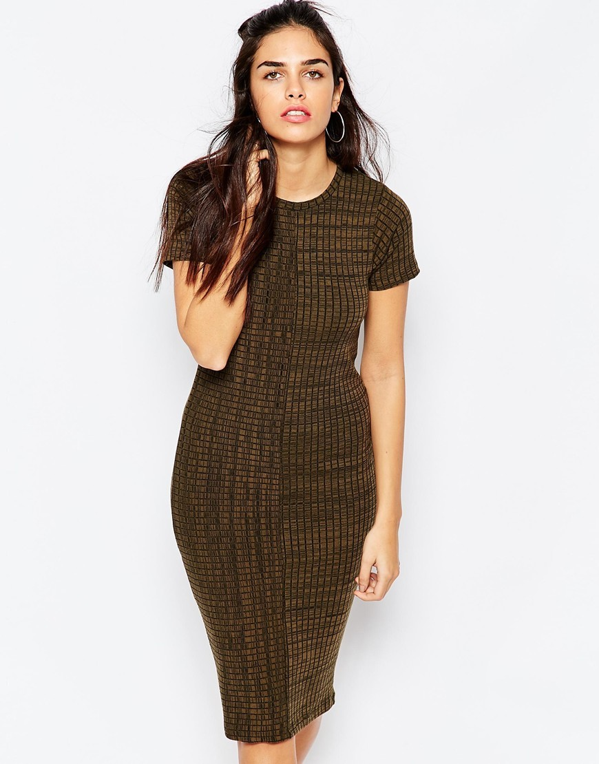 Column Midi Dress In Rib Khaki - length: below the knee; fit: tight; pattern: plain; style: bodycon; predominant colour: khaki; occasions: evening; fibres: polyester/polyamide - stretch; neckline: crew; sleeve length: short sleeve; sleeve style: standard; pattern type: fabric; texture group: other - light to midweight; season: a/w 2015; wardrobe: event