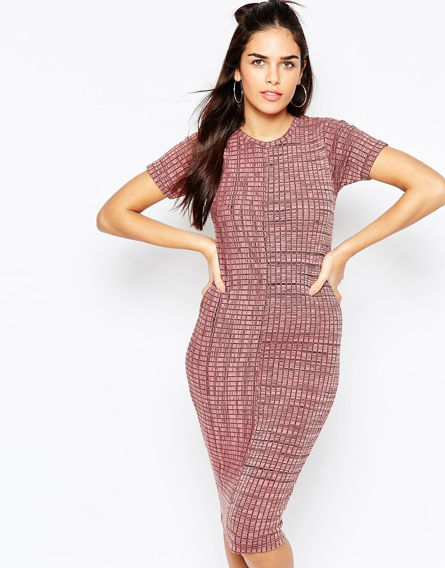 Column Midi Dress In Rib Blush - length: below the knee; fit: tight; pattern: plain; style: bodycon; predominant colour: pink; occasions: evening; fibres: polyester/polyamide - stretch; neckline: crew; sleeve length: short sleeve; sleeve style: standard; texture group: jersey - clingy; pattern type: fabric; season: a/w 2015; wardrobe: event